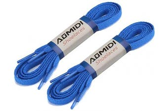 (160 cm, Blue) - Flat Shoelaces (2 Pairs) - For sneakers and converse shoelaces replacements