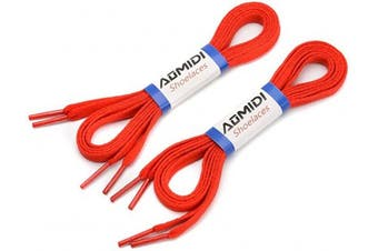 (102 cm, Red) - Flat Shoelaces (2 Pairs) - For sneakers and converse shoelaces replacements