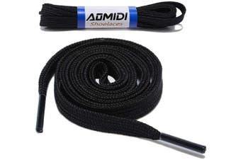 (69 cm, Black) - Flat Shoelaces Wide Shoes Lace (2 Pairs) - Wide Shoelaces - Flat Shoe Laces for Sneakers and Shoes