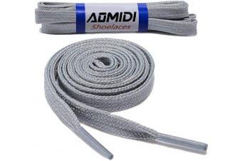 (91 cm, Gray) - Flat Shoelaces Wide Shoes Lace (2 Pairs) - Wide Shoelaces - Flat Shoe Laces for Sneakers and Shoes