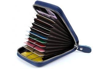 (Blue) - Credit Card Holders Women Ladies Leather Credit Card Wallets for Women Credit Card Holder Women RFID Protector (Blue)