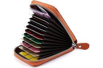 (Brown) - Credit Card Holders Women Ladies Leather Credit Card Wallets for Women Credit Card Holder Women RFID Protector (Brown)
