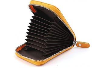 (Yellow) - Credit Card Holders Women Ladies Leather Credit Card Wallets for Women Credit Card Holder Women RFID Protector (Yellow)