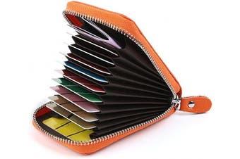 (Orange) - Credit Card Holders Women Ladies Leather Credit Card Wallets for Women Credit Card Holder Women RFID Protector (Orange)