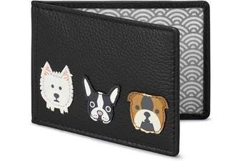 (Black) - Yoshi Dog Applique Leather Travel Pass/Oyster Card Holder (Black)
