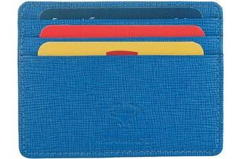 (1_sea Blue) - Real Leather Credit Card Holder - Ultra Thin Design - Front Pocket Wallet - RFID (Sea Blue)