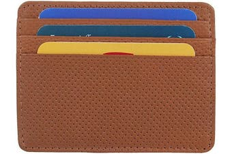 (1_dotted Tan) - Real Leather Credit Card Holder - Ultra Thin Design - Front Pocket Wallet - RFID (Dotted Tan)