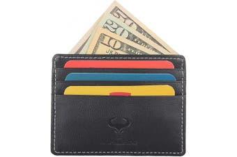 (1_jet Black) - Real Leather Credit Card Holder - Ultra Thin Design - Front Pocket Wallet - RFID (Jet Black)