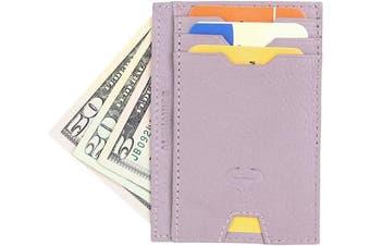 (2_lavender) - Real Leather Credit Card Holder - Ultra Thin Design - Vertical Front Pocket Wallet - RFID (Lavender)