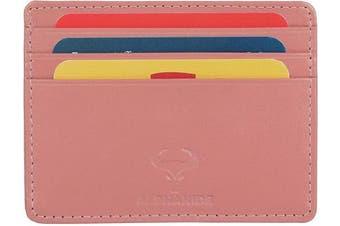 (1_petal Pink) - Real Leather Credit Card Holder - Ultra Thin Design - Front Pocket Wallet - RFID (Petal Pink)