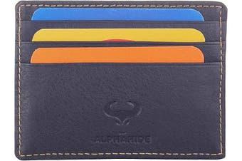 (1_navy Blue) - Real Leather Credit Card Holder - Ultra Thin Design - Front Pocket Wallet - RFID (Navy Blue)