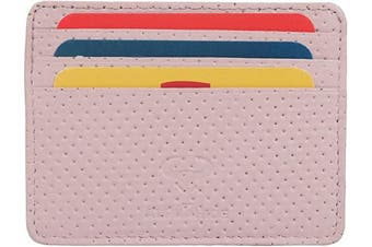 (1_dotted Pink) - Real Leather Credit Card Holder - Ultra Thin Design - Front Pocket Wallet - RFID (Dotted Pink)