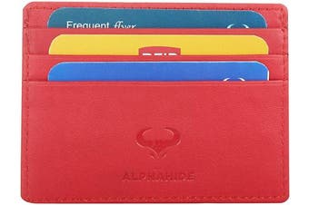(1_chilli Red) - Real Leather Credit Card Holder - Ultra Thin Design - Front Pocket Wallet - RFID (Chilli Red)