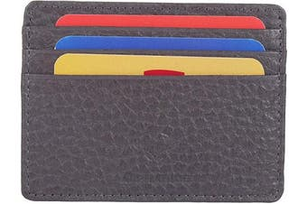 (1_grey) - Real Leather Credit Card Holder - Ultra Thin Design - Front Pocket Wallet - RFID (Grey Crumpled)