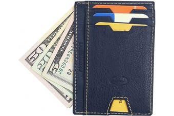 (2_navy Blue) - Real Leather Credit Card Holder - Ultra Thin Design - Vertical Front Pocket Wallet - RFID (Navy Blue)