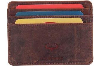 (1_hunter) - Real Leather Credit Card Holder - Ultra Thin Design - Front Pocket Wallet - RFID (Hunter)
