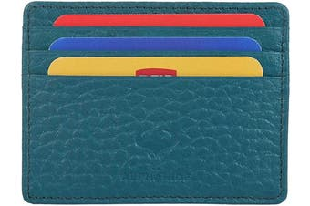 (1_teal Crumpled) - Real Leather Credit Card Holder - Ultra Thin Design - Front Pocket Wallet - RFID (Teal Crumpled)