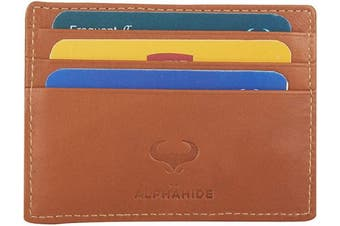 (1_tan) - Real Leather Credit Card Holder - Ultra Thin Design - Front Pocket Wallet - RFID (Tan)