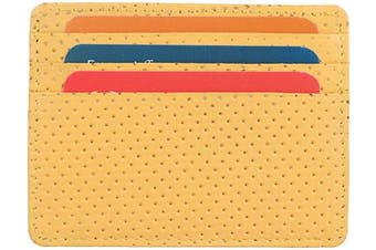 (1_dotted Mango) - Real Leather Credit Card Holder - Ultra Thin Design - Front Pocket Wallet - RFID (Dotted Mango)