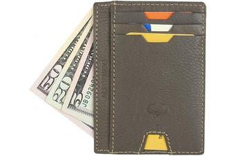(2_dark Olive) - Real Leather Credit Card Holder - Ultra Thin Design - Vertical Front Pocket Wallet - RFID (Dark Olive)