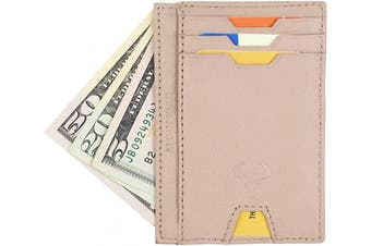 (2_beige) - Real Leather Credit Card Holder - Ultra Thin Design - Vertical Front Pocket Wallet - RFID (Beige)