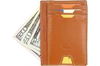 (2_tan) - Real Leather Credit Card Holder - Ultra Thin Design - Vertical Front Pocket Wallet - RFID (Tan)