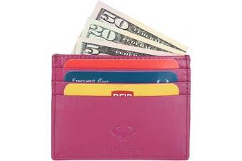 (1_flamingo Pink) - Real Leather Credit Card Holder - Ultra Thin Design - Front Pocket Wallet - RFID (Pink)