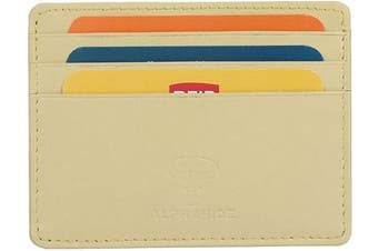 (1_lemon) - Real Leather Credit Card Holder - Ultra Thin Design - Front Pocket Wallet - RFID (Lemon)