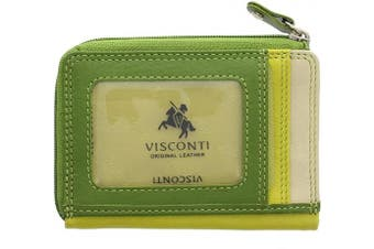 (Lime Multi) - Visconti Leather Rainbow Collection PHI PHI Slimline Credit Card Purse RB110 Lime Multi