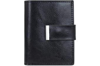 (Black) - Leather Credit Card Holder ID Business Card Case Purse Wallet for Men Women RFID Protector (Black)