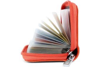 (Orange) - Credit Card Holders Women Ladies Leather Credit Card Wallets for Women Ladies 26 Card Slots RFID Protector (Orange)