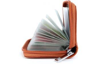 (Brown) - Credit Card Holders Women Ladies Leather Credit Card Wallets for Women Ladies 26 Card Slots RFID Protector (Brown)