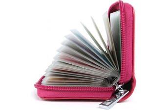 (Rose Red) - Credit Card Holders Women Ladies Leather Credit Card Wallets for Women Ladies 26 Card Slots RFID Protector (Rose red)