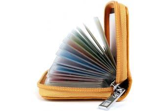 (Yellow) - Credit Card Holders Women Ladies Leather Credit Card Wallets for Women Ladies 26 Card Slots RFID Protector (Yellow)
