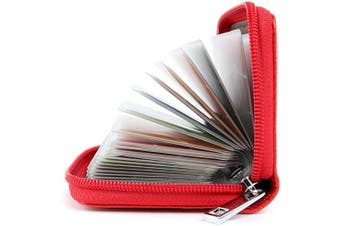 (Red) - Credit Card Holders Women Ladies Leather Credit Card Wallets for Women Ladies 26 Card Slots RFID Protector (Red)