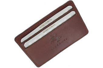 (Oil Tan) - Visconti Slim Leather Credit Card Holder CC1 Oil Tan