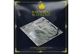 (14cm , 100 sheets) - Imitation Silver Leaf Sheets - by Barnabas Blattgold - Made from Aluminium - 100 Sheets - 14cm - Interleaved