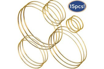 Bastex 15 Piece Gold Metal Hoop Craft Rings. Bulk Ring Sizes That Include, 2, 3, 4, 5 and 15cm Diameter and. Perfect for Macrame, Dreamcatcher, Embroidery, Wreaths and More