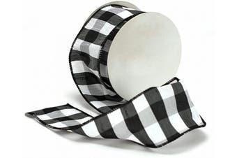 Cheshire Wired Edged Black and White Dupioni Striped Ribbon 6.4cm 10 Yards