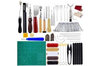 (60pcs) - BUTUZE Practical Leather Tools 60 PCS Complete Craft Sewing Kit for Beginner/Professional- Leather Crafting Kit for Bookbinding, Sewing, Leather Working,Leather Making