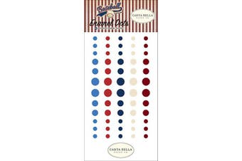 Carta Bella Paper Company CBBA95028 Baseball Enamel dots, Brown, red, Blue, Navy, Green, Yellow