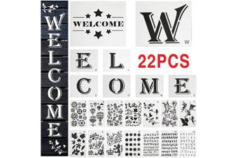 22 PCS Large Welcome Sign Stencils Set for Painting on Wood, 8 PCS Welcome Stencil, 14Pcs Bullet Journaling Flower Leaf Butterfly Alphabet Stencil Reusable Templat for Creating Painting Beautiful Wood
