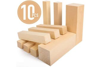Basswood Carving Blocks - 5ARTH Large Beginner's Premium Wood Carving/Whittling Kit, Suitable for Beginner to Expert - 10 Pcs with Two 15cm x 5.1cm x 5.1cm and Eight 15cm x 2.5cm x 2.5cm Unfinished Wood Blocks