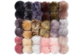 (Dark Color-36pcs) - Cosweet 36pcs 9.1cm DIY Faux Fox Fur Fluffy Pompom Ball- Faux Fox Fur Pom Pom Balls with Elastic Loop Removable Knitting Hat Accessories for Hats Shoes Scarves Gloves Bags Keychains (18 Colour)