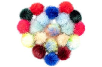 (Light Color) - Cosweet 20pcs 10cm DIY Faux Fox Fur Fluffy Pompom Ball- Faux Fox Fur Pom Pom Balls with Elastic Loop Removable Knitting Hat Accessories for Hats Shoes Scarves Bags Keychains (10 Colour-Light)