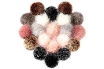 (Dark Color-20pcs) - Cosweet 20pcs 10cm DIY Faux Fox Fur Fluffy Pompom Ball- Faux Fox Fur Pom Pom Balls with Elastic Loop Removable Knitting Hat Accessories for Hats Shoes Scarves Bags Keychains (10 Colour-Dark)