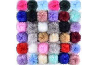 (Multicolor) - Coopay 36 Pieces Faux Fox Fur Pom Pom Balls DIY Fur Fluffy Pom Pom with Elastic Loop for Hats Keychains Scarves Gloves Bags Charms Knitting Accessories (Multicolor)