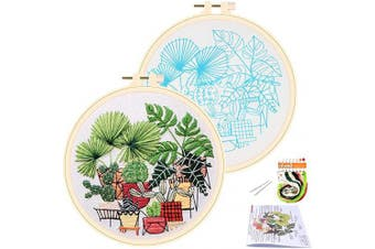 (Potted) - APIPI Cross Stitch Stamped Embroidery Kit- Art Craft Handy Sewing Pack for DIY Beginner Counted Starter-Including Colour Pattern Embroidery Cloth,Embroidery Hoop,Colour Threads,Tools