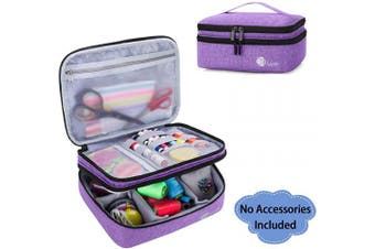 (Large, Purple) - Luxja Double-Layer Sewing Supplies Organiser, Sewing Accessories Organiser for Needles, Thread, Scissors, Measuring Tape and Other Sewing Tools (Bag Only), Purple