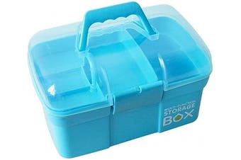 Sunxenze 28cm Clear Plastic Storage Box/Family First Aid Box/Tool Box, Multipurpose Organiser with Removable Tray, Portable Handled Storage Case for Art Craft and Cosmetic (Light Blue)